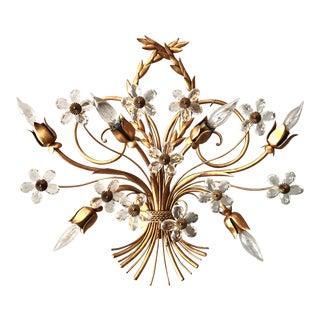 1930s 6 Light Gilt Crystal Floret Design Wall Sconce For Sale