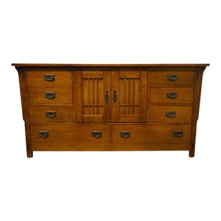 Hooker Furniture Oak Mission Style Triple Door Dresser For Sale