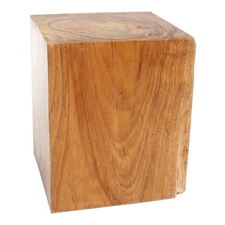 Natural Wood Stool - Square For Sale