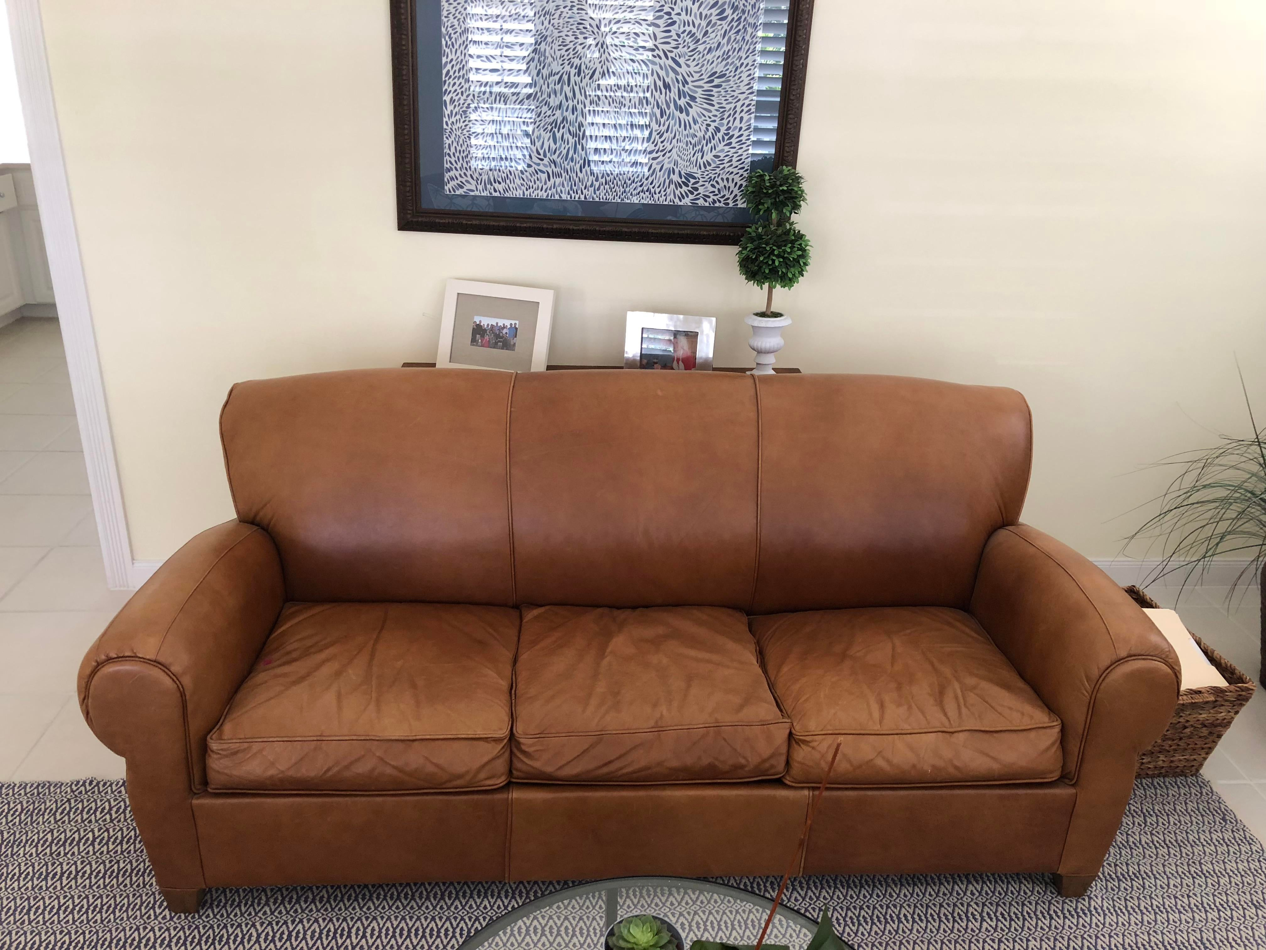Mitchell Gold For Pottery Barn Manhattan Leather Sleeper Sofa Chairish