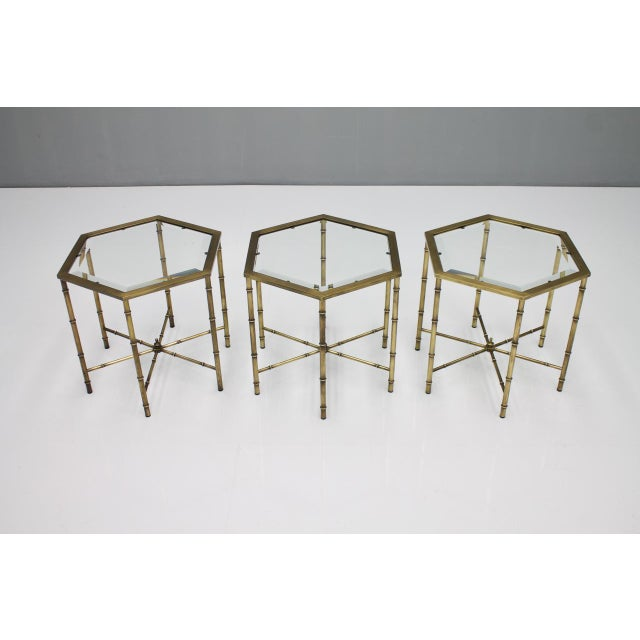 Set of Three Octagonal Side Table in Brass and Glass, 1970s For Sale - Image 12 of 12