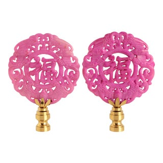 Chinese Calligraphy Lamp Finials - a Pair For Sale