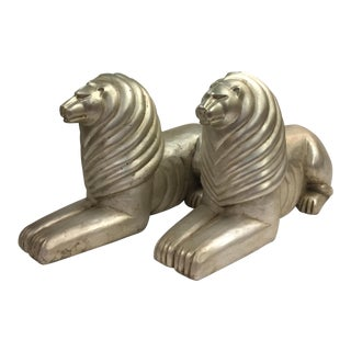 Large Art Deco Silver Flecked Lions - A Pair