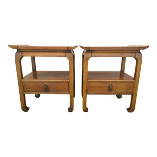 Vintage Kent Coffey Amerasia Cherry Chinoiserie Nightstands - A Pair