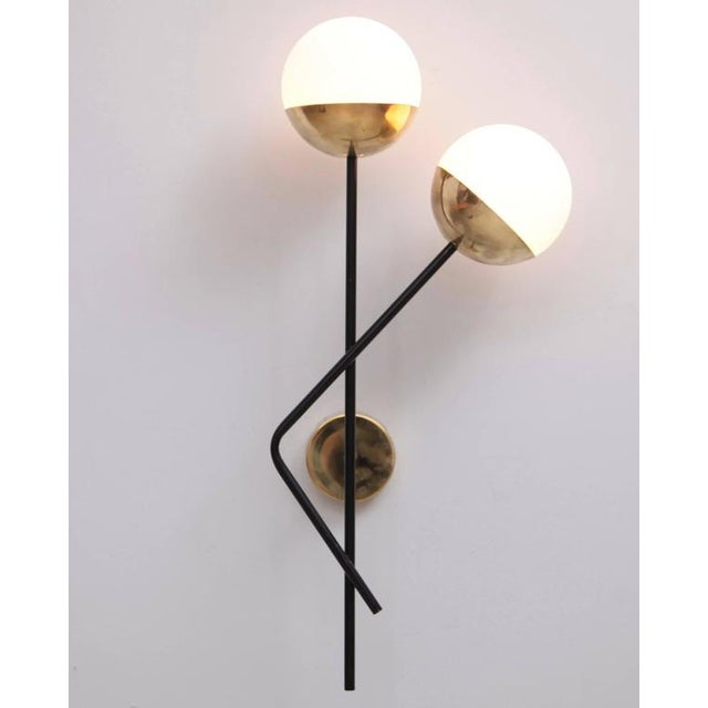 1970s One of Six Brass and Glass Wall Lights or Sconces Attributed to Stilnovo For Sale - Image 5 of 5