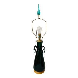 Scarce Green Blenko Table Lamp With Finial - Vintage 1960s For Sale
