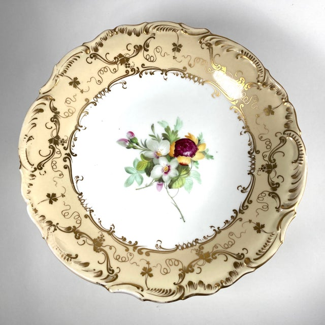 A William IV-period hand-painted porcelain tazza by John Ridgway, decorated in one of his better-known patterns with...
