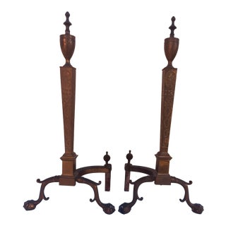 Solid Empire Style Andirons/Chants With Paw - a Pair For Sale