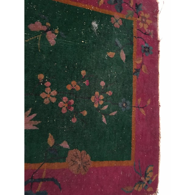 Antique Chinese Art Deco Flowers & Birds Rug - 2′11″ × 4′10″ - Image 8 of 9