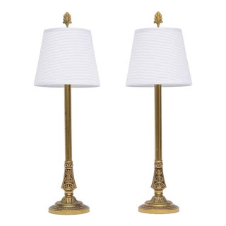 Pair of Stiffel Brass Candlestick Buffet Lamps For Sale