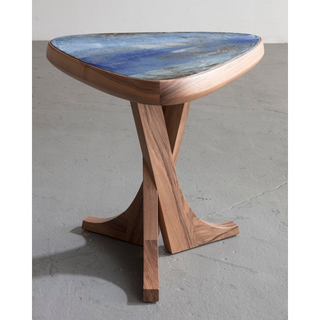 """""""Lewis"""" Stool With Handmade Walnut Frame and Handmade Ceramic Detail For Sale In New York - Image 6 of 6"""