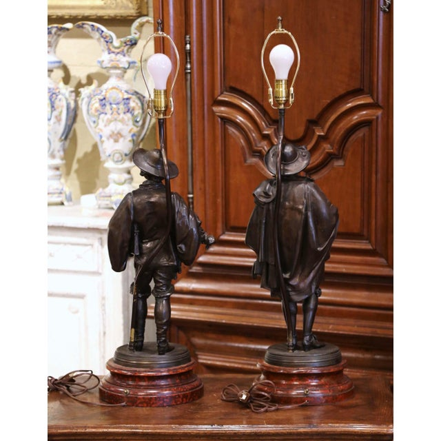 19th Century French Spelter Renaissance Figures Made Into Table Lamps - a Pair For Sale - Image 12 of 13