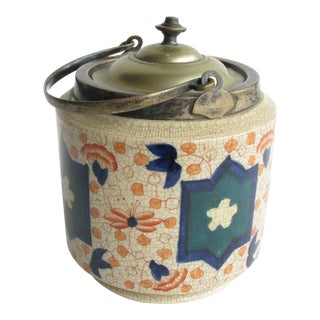 Antique Burslem English Pottery Imari Biscuit Jar With Silver Plate Lid and Details For Sale