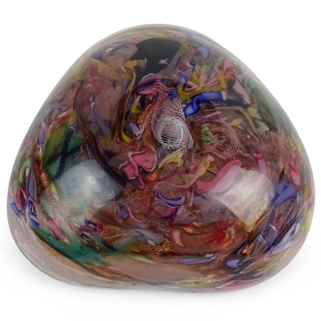 Glass Murano Vintage Latticino Zanfirico Ribbon Aventurine Flecks Italian Art Glass Mid Century Jewelry Dish For Sale - Image 7 of 8
