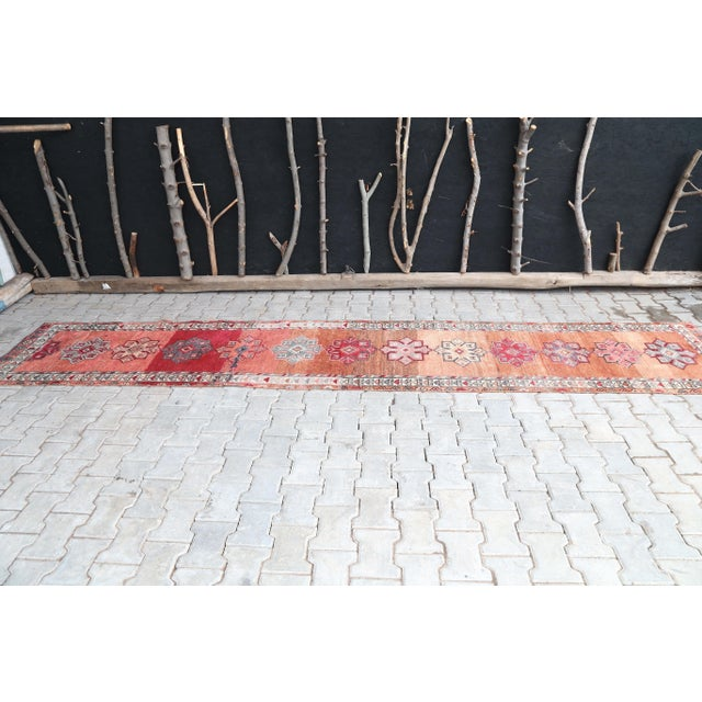 "Boho Chic 1960's Vintage Turkish Hand-Knotted Long Runner Rug - 2'6"" X 13'8"" For Sale - Image 3 of 11"