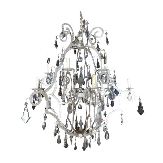 Silver 12-Light Crystal Chandelier - Image 1 of 6