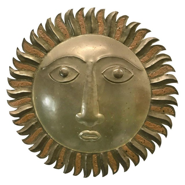 Sergio Bustamante-Style Brass and Copper Sun Wall Sculpture, 1970s For Sale - Image 9 of 9