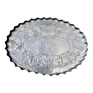 Vintage Hand Forged Aluminum Serving Tray With Ivy Design For Sale