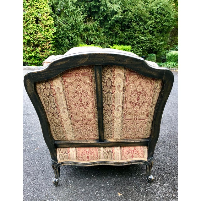 Vintage French Bergere Chair With Paisley Upholstery For Sale - Image 4 of 13
