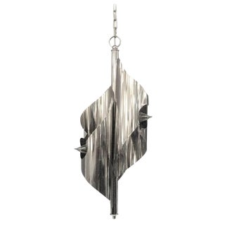 Chrome-Plated Sculptural Pendant Light Chandelier, Maison Charles For Sale