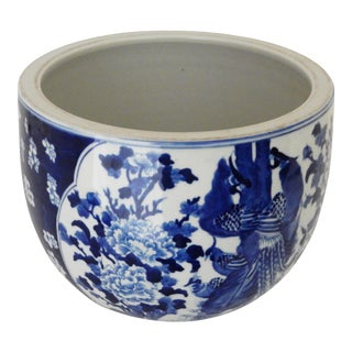 Chinese Black & White Porcelain Peacocks Cachepot / Fish Bowl For Sale