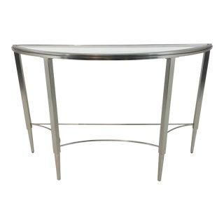 Modern Silk Nickel Demi-Lune Console Table For Sale