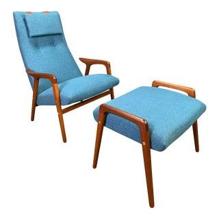"Vintage Scandinavian Mid Century Modern Teak ""Mingo"" Lounge Chair & Ottoman by Yngve Ekström For Sale"