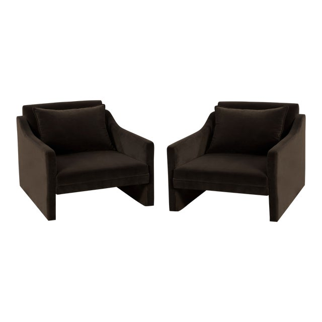 Stately Club Chairs in Mink Chocolate Velvet - A Pair For Sale