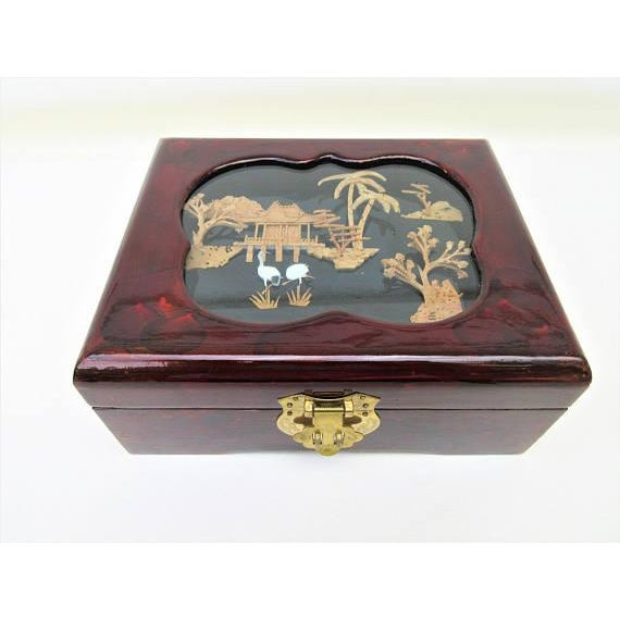 Vintage Wooden Lacquer Box   Jewelry Organizer - Image 7 of 7