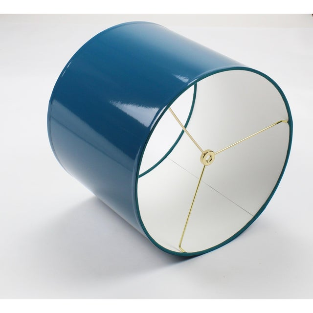 Lampshade Designs Large Teal High Gloss Drum Lampshade For Sale - Image 4 of 7