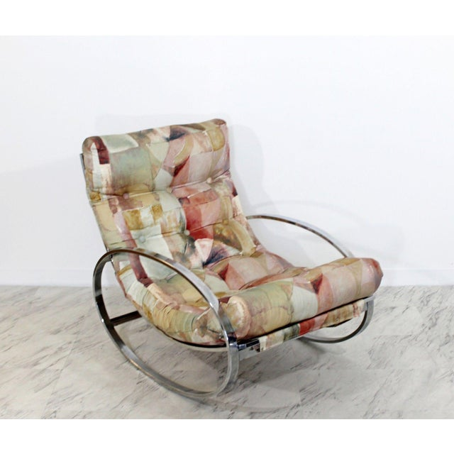 Mid Century Renato Zevi Chrome Elliptical Rocking Chair For Sale - Image 10 of 10