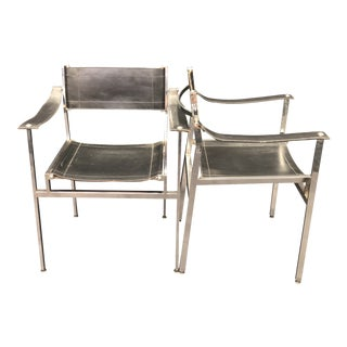 1980s Industrial Black Leather Chrome Director Dining Chairs - a Pair For Sale