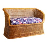 Image of 1970s Boho Chic Wicker Rattan Peacock Style Sofa Settee For Sale