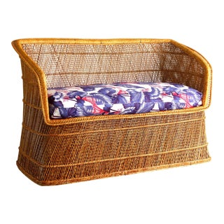 1970s Boho Chic Wicker Rattan Peacock Style Sofa Settee For Sale