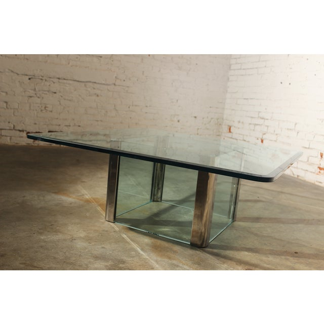 Pace Collection Chrome & Glass Square Coffee Table For Sale - Image 10 of 11