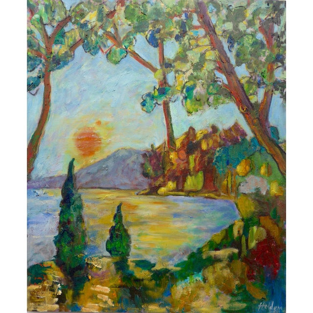 Sunset on the Lake Plein Air Painting - Image 1 of 6