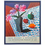 """Image of David Hockney Rare Vintage 1988 Lithograph Print Framed Metropolitan Museum Exhibition Poster """" Still Life With Flowers """" 1987 For Sale"""