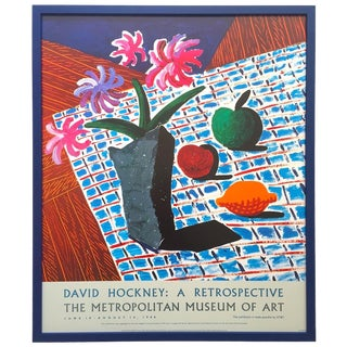 "David Hockney Rare Vintage 1988 Lithograph Print Framed Metropolitan Museum Exhibition Poster "" Still Life With Flowers "" 1987 For Sale"