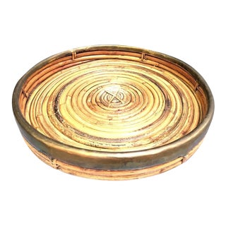 1960s Gabriella Crespi Coiled Rattan and Brass Tray For Sale