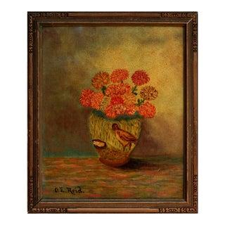 Folk Art Vase with Flowers and Bird