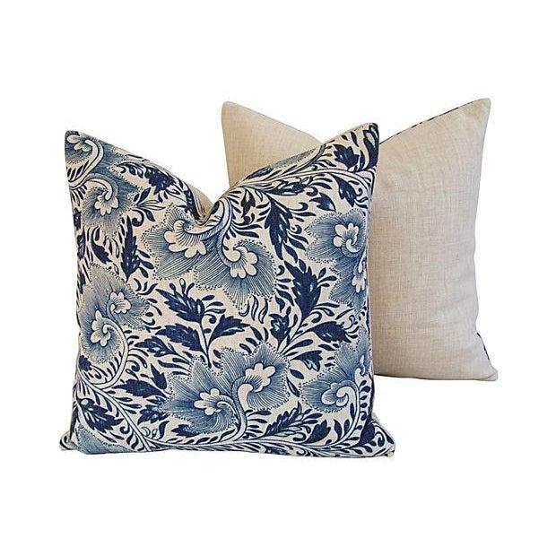 Custom Indigo Blue Floral Linen Pillows - Pair - Image 5 of 7