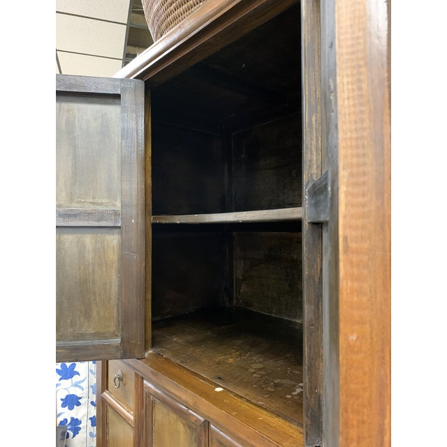 Metal Asian Style Wooden Cabinet For Sale - Image 7 of 12