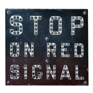 Vintage 'Stop on Red Signal' Iron Sign For Sale