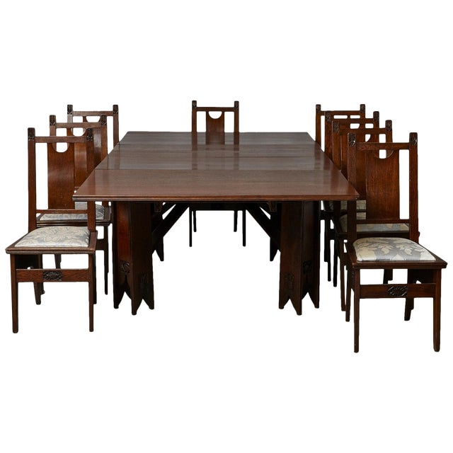 Important Art Nouveau Dining Set by Ernesto Basile for Ducrot, Circa 1900 For Sale