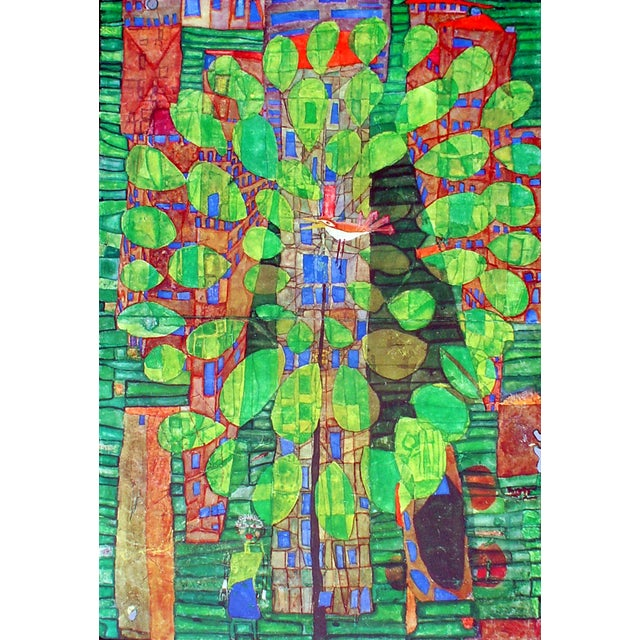 "Glass Friedrich Hundertwasser ""Singing Bird on a Tree"", Framed and Matted Print For Sale - Image 7 of 7"