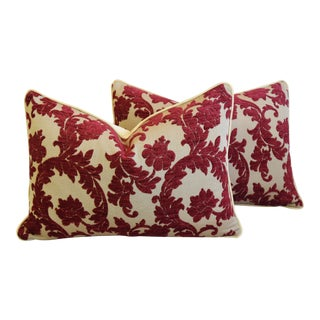 "Burgundy French Floral Linen Velvet Feather/Down Pillows 26"" X 18"" - Pair For Sale"