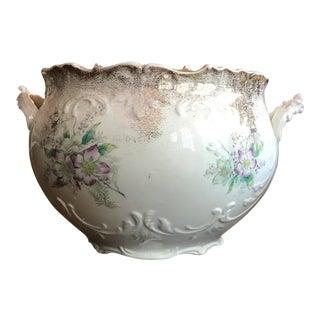 Semi-Vitreous Floral Porcelain Jardiniere For Sale