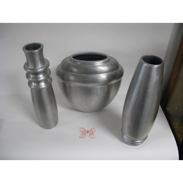 Silver 2003 Kilbarry Ireland Marquis by Waterford Pewter Vases - Set of 3 For Sale - Image 8 of 13