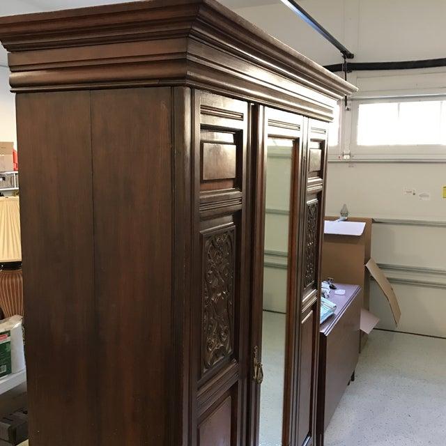 Antique Mirrored Door Armoire - Image 3 of 7