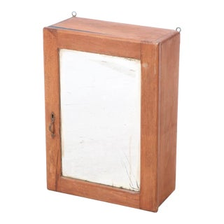 20th Century Birchwood Mirrored Hanging Cabinet For Sale